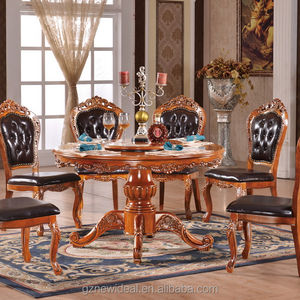 Solid wooden round dining table designs with rotating centre NG2879& NG2880