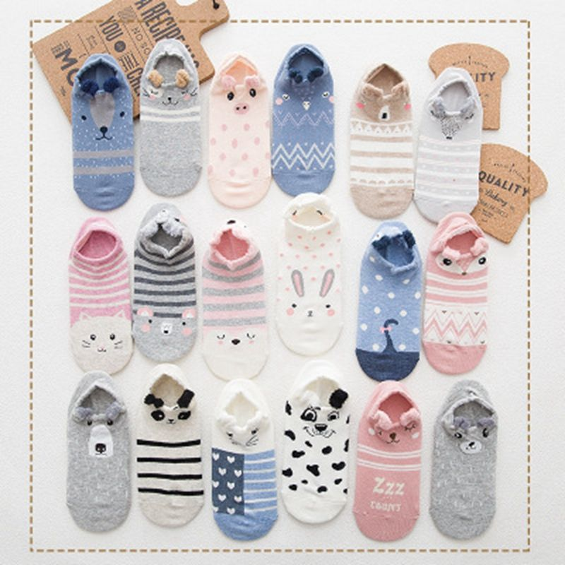 Cute Animal Cotton Socks Female Kawaii Cat With Dog Summer Short Socks Slippers Women Casual Soft Funny Boat Socks