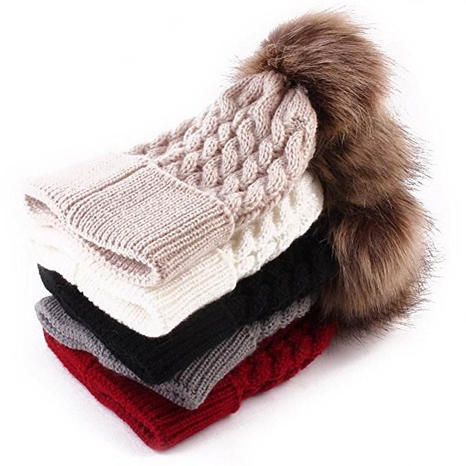 high quality knit beanie with fur pom ball jacquard knitted hat