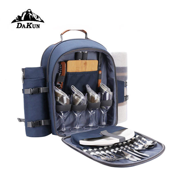 Picnic Backpack For 4 Person Set With Insulated Waterproof Pouch For Family Outdoor Camping (Navy Blue)