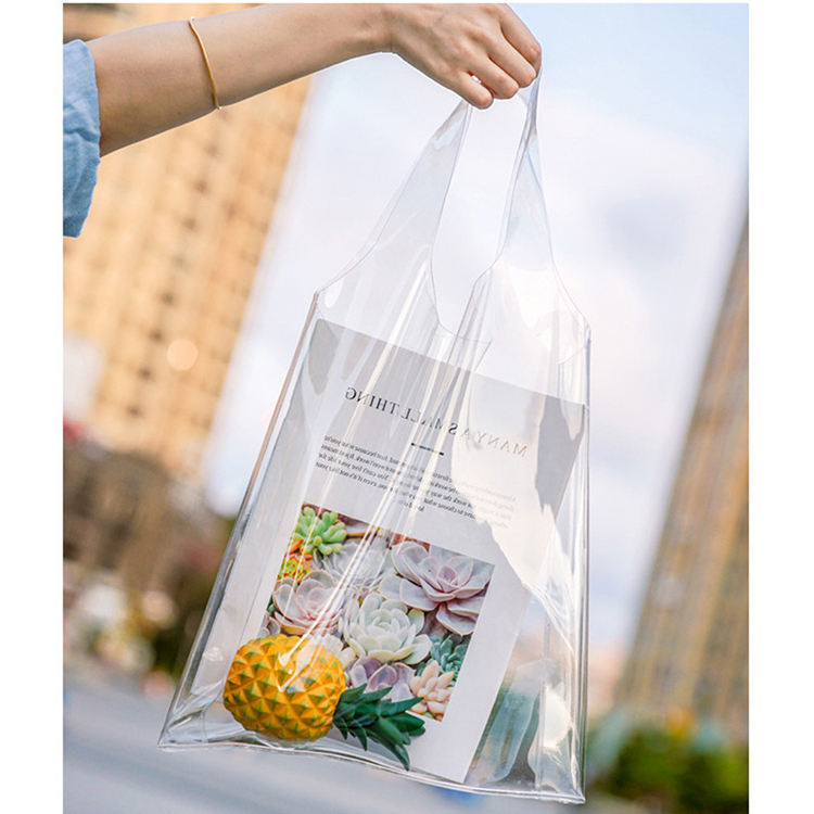 여성 패션 인과 핸드백 Luxury Jelly Clear Plastic PVC Beach Tote Bag