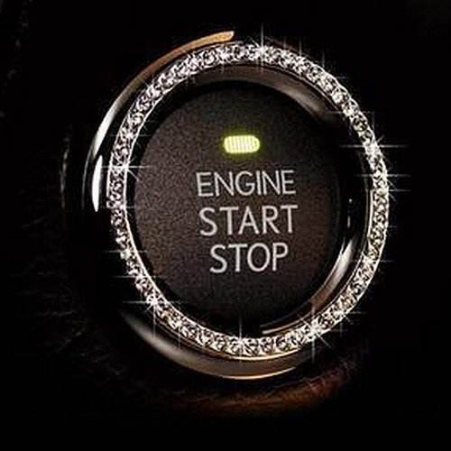 Bling Car Decor Crystal Car Bling Ring Emblem Sticker, Bling Car Accessories For Auto Start Engine Ignition Button Key
