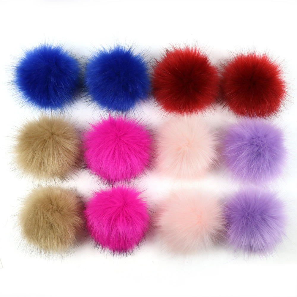2020 12cm a dozen Colorful Genuine Fox Fur Pompom 9-15cm Fox Fur Ball Pom Pom for Women Winter Hat And Cap with snap