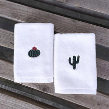 Custom Wholesale Soft 100% Cotton Face towel Embroidered Logo Hotel Small  Clean Face Towels White