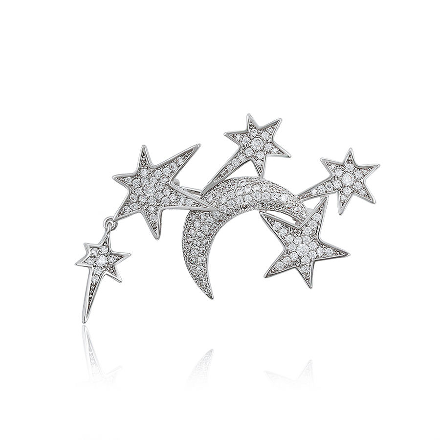 brooches-279 xuping fancy elegant moon star brooches women, prom party delicate white gold brooch