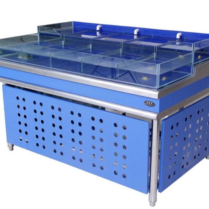 DF customized supermarket or restaurant commercial salted system water chiller live shellfish tank seafood display tank