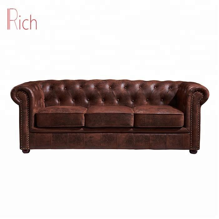 Home Decor Retro Style Living Room Ideas Vintage PU Chesterfield Sofa
