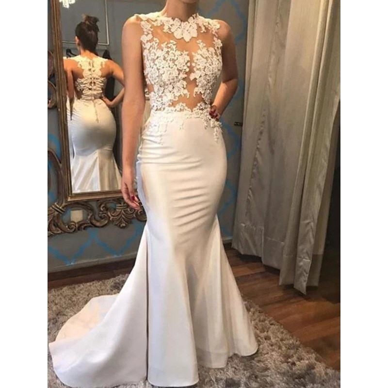Sexy Transparent Lace Bodice Satin Wedding Dress Bridal Gown Mermaid Wedding Dresses 2019 New vestido de noiva