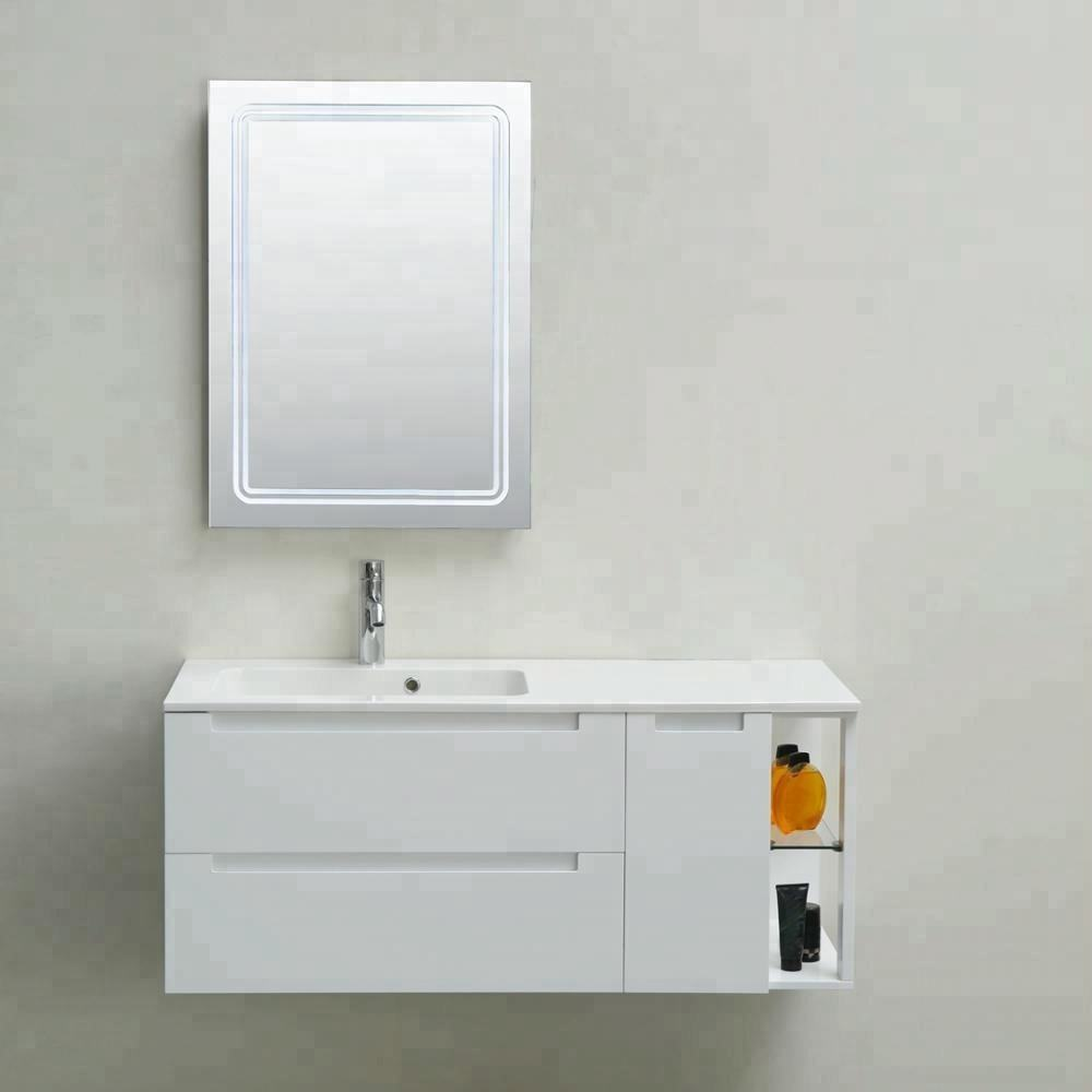 Entop wall mounted waterproof modern pvc bathroom cabinet vanity set