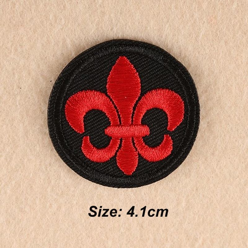 "Religious Fleur de lis Cross Gold Metallic 4/"" Iron On Applique Embroidered Patch"