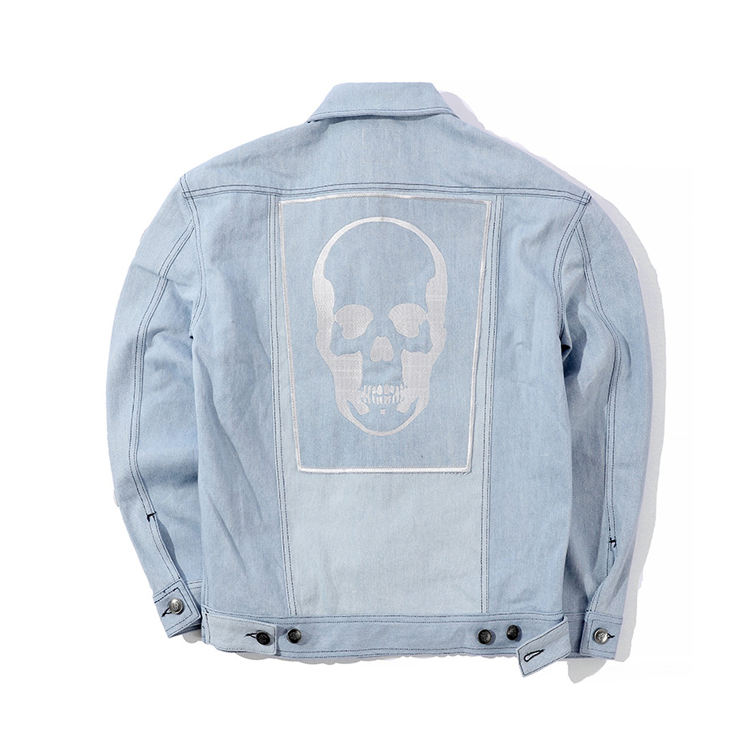 2019 new outfit chic loose hip-hop jackets for unisex embroidered skull denim jacket for man