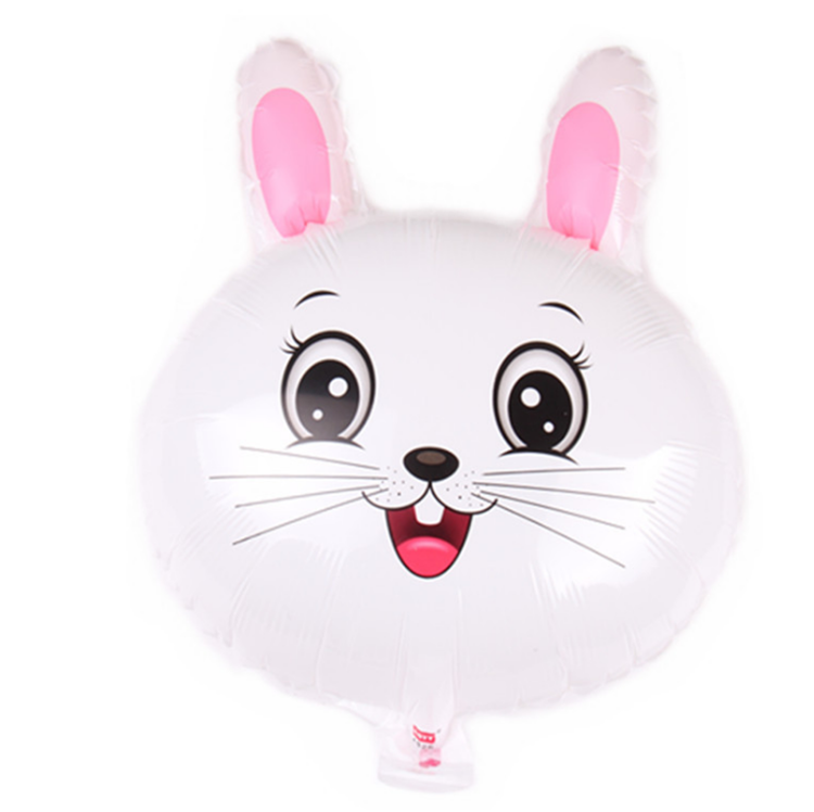 Hot Sale 18 inch Character Animal Head White Rabbit Foil Aluminium Helium Balloon for Summer Party Decoration