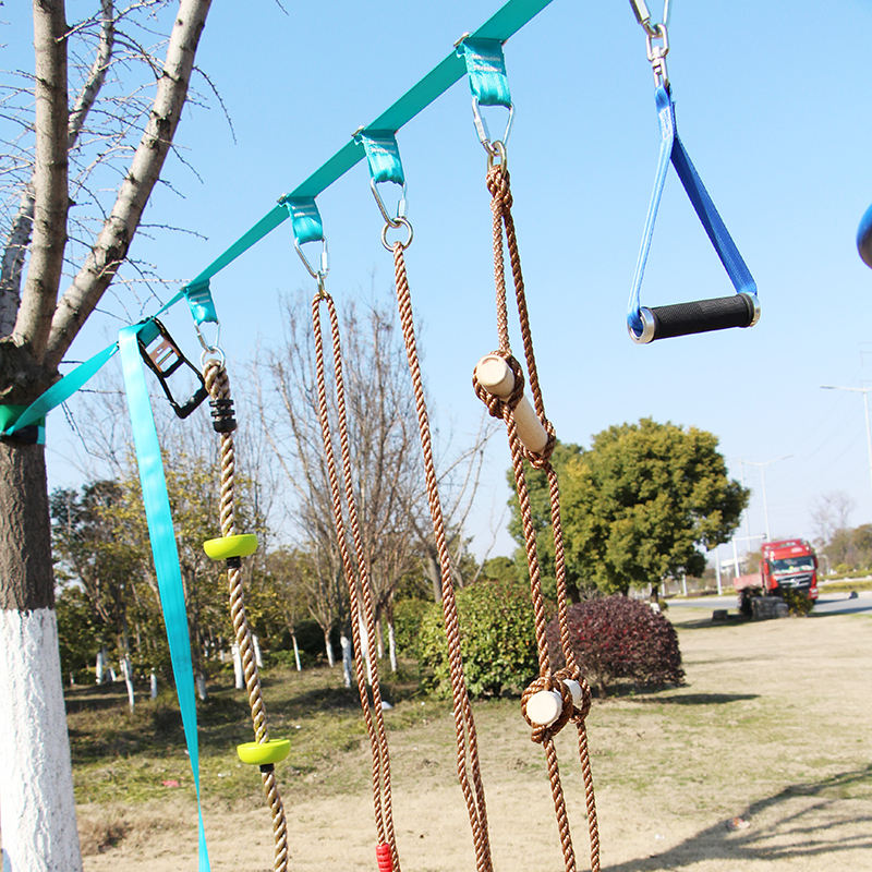 slackline obstacle course for kids with backyard slackline swing hanging