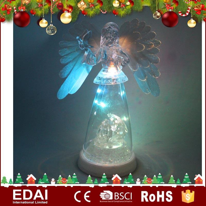 Alta calidad led iluminado navidad ornamento de acrílico ángel con el ala de fibra óptica