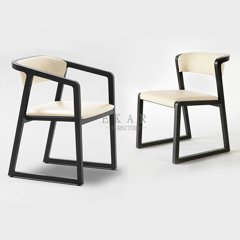 Modern Cheap Ash Wood Black Frame White Leather Dining Chair
