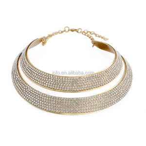 Punk Wide Double Layer Gold Plated Metal And Diamond Choker Necklace Jewelries for Woman