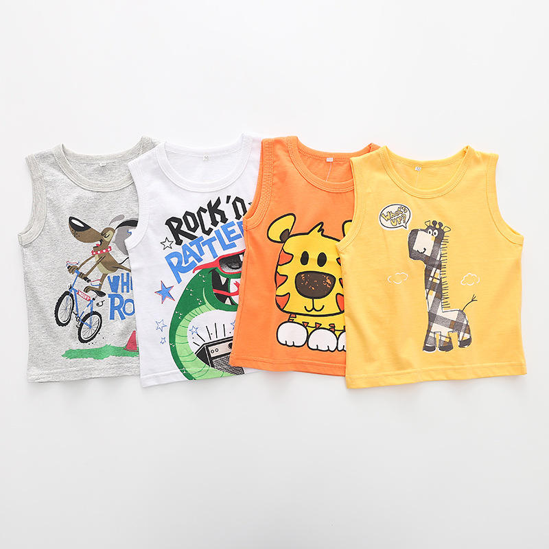 2020 New children's boys and girls candy vest Cartoon T-shirt Sleeveless vest baby's clothing