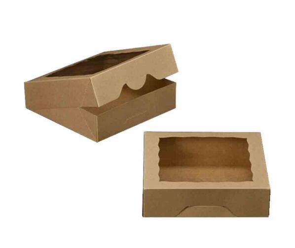 Bakery Boxes with Scallop Window Brown Kraft Paper Box for Pies, Cookies, Cakes, or Cupcakes Superior Quality