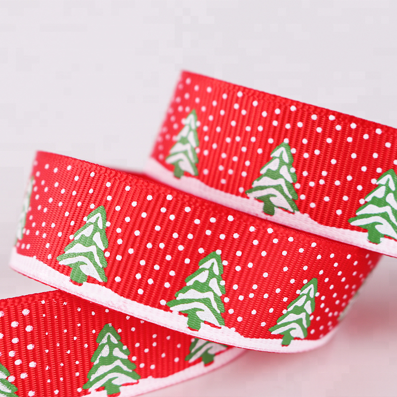 Custom Christmas 2cm Red Grosgrain Ribbon Holiday Celebration Christmas Tree Ribbon