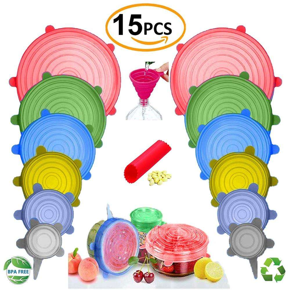 NEWEST Silicone Stretch Lids,12-Pack Various Sizes ,Reusable, Durable Expandable to Fit Various Size Shape Containers As Seen On