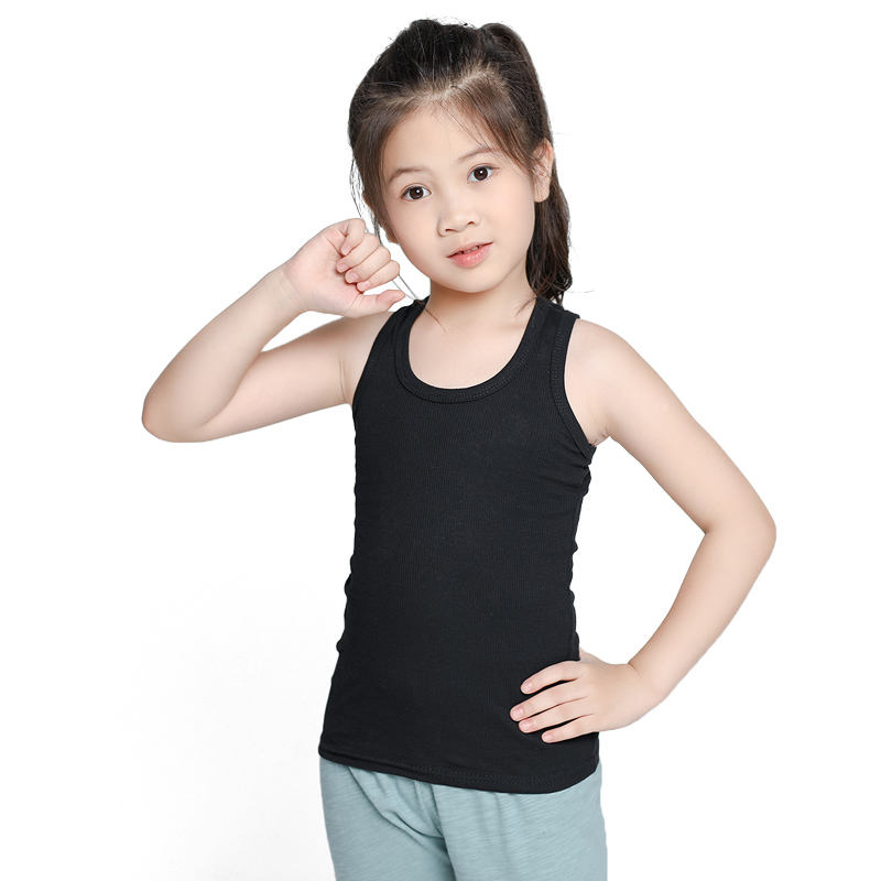Custom O Neck Tank Top Sleeveless Undershirts Candy Color Vocation Wear Cotton Boys Girls Unisex Summer Vest