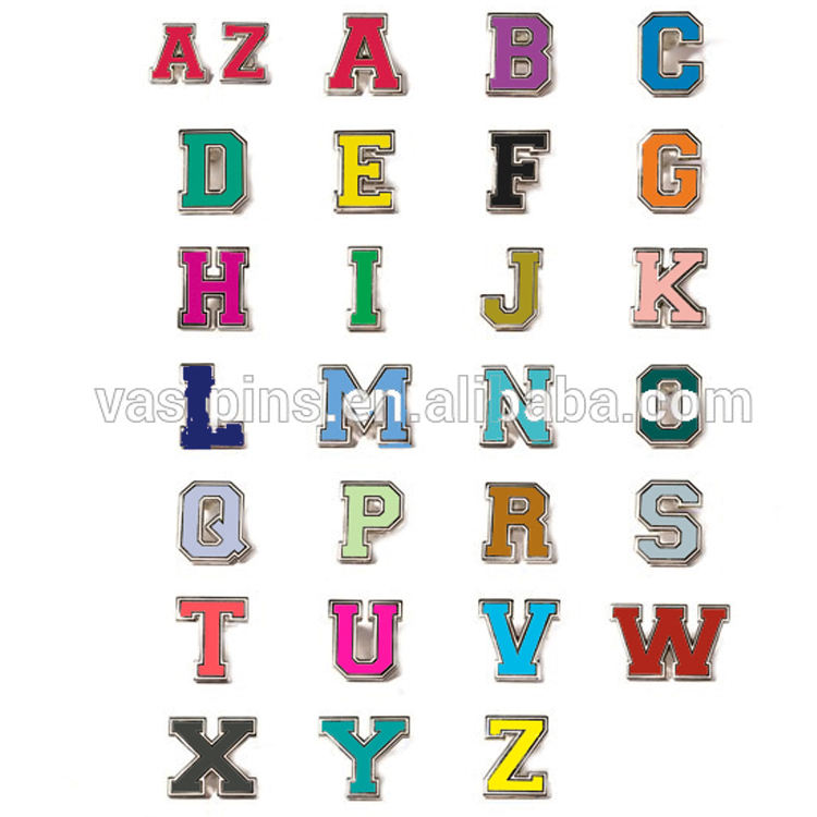 Number and letter abc custom suit lapel pins