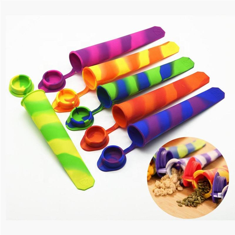 6 pcs Multicolored Silicone Ice Popsicle molds for ice pops Molds With Attached Lids