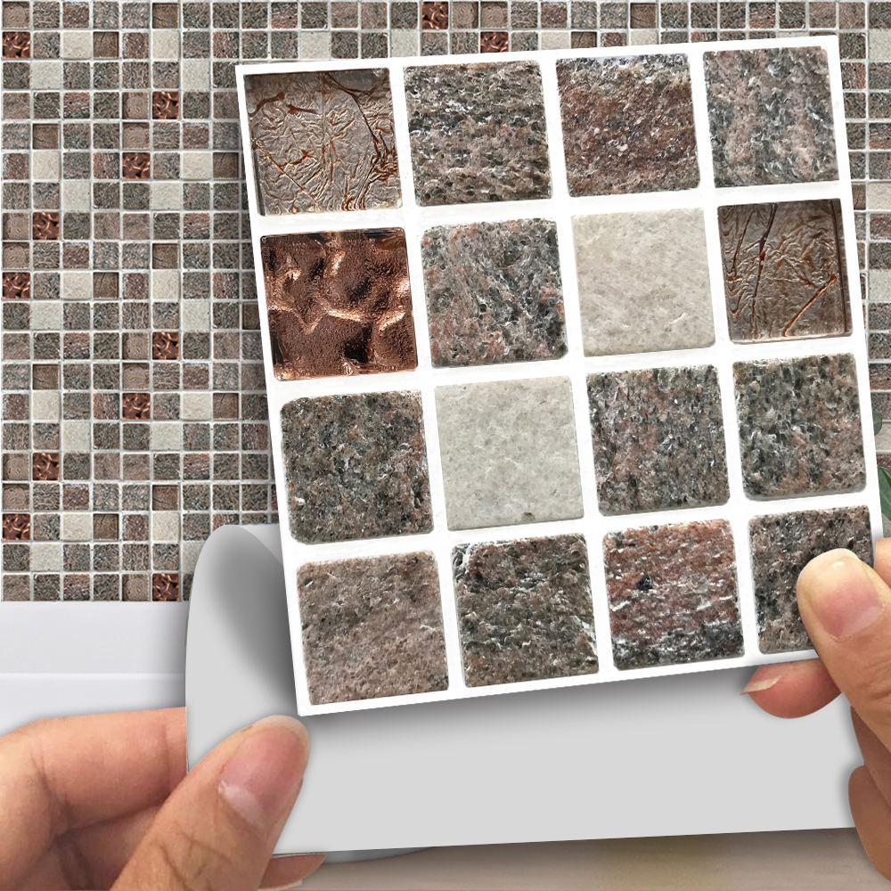 18pcs Copper Natural Stone Cheap Mosaic Tile Sheets