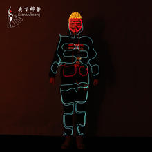 Halloween LED Dance Costumes Luminous Fashion Talent Show Performance Stage Party Light Up Dance Wear EL wire Clothes