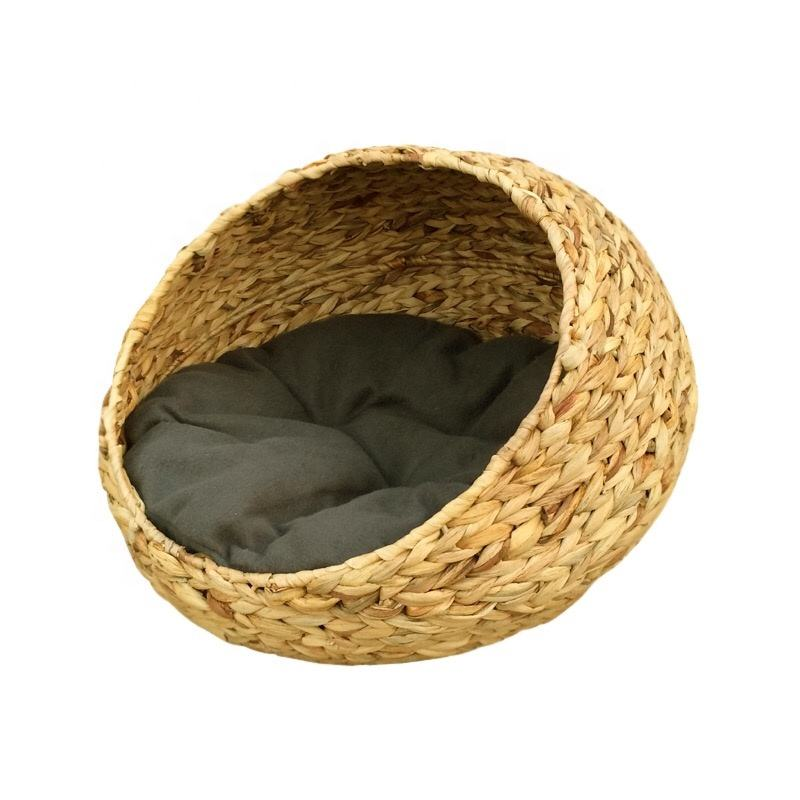 Rattan Wicker Small Pet Dog Bed Basket Puppy Dog nest bed For Summer Sleeping