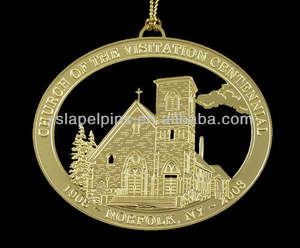 custom made etched solid brass ornament