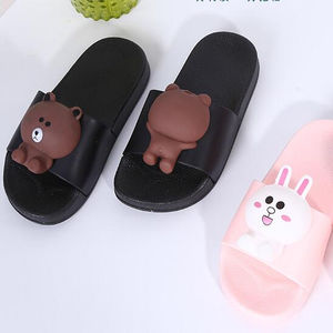 Stylish cute cartoon bear design for both men and women antiskid comfortable PVC slippers