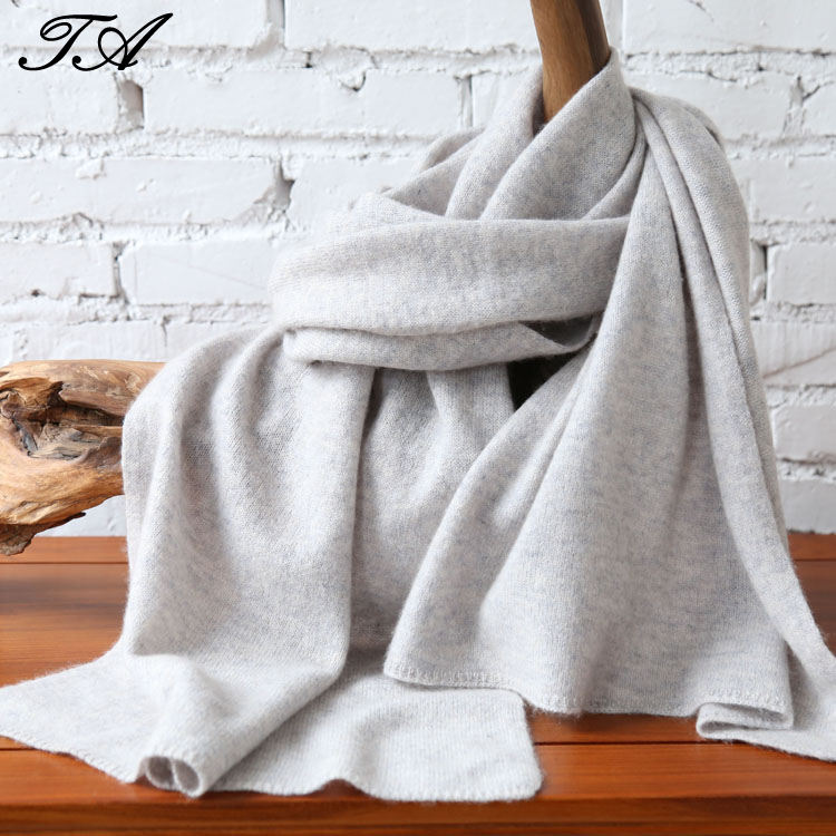 Women 100% cashmere knit big solid soft scarf shawl