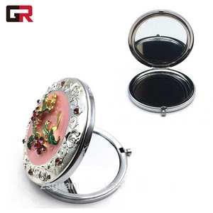 Custom Metal Folding Small Round Cosmetic Make Up Hand Pocket Compact Makeup Mirror