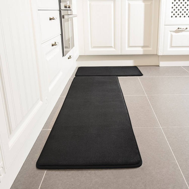 Anti slip backing microfiber kitchen mat set
