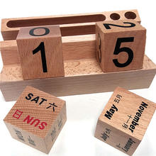 Cube Wood Craft Calendar Block/Perpetual Wooden Desk Calendar
