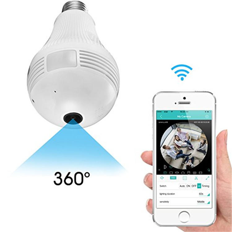 360 Degree Panoramic 960P 2MP 3MP 5MP WiFi CCTV Bulb Camera iCsee