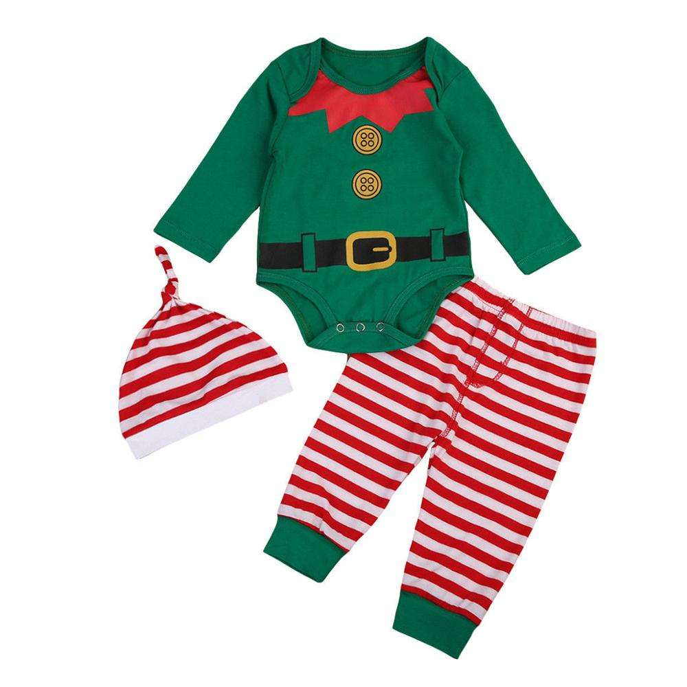 New baby men and women Christmas jumping jump jumpsuit three - piece set manufacturers directly approved
