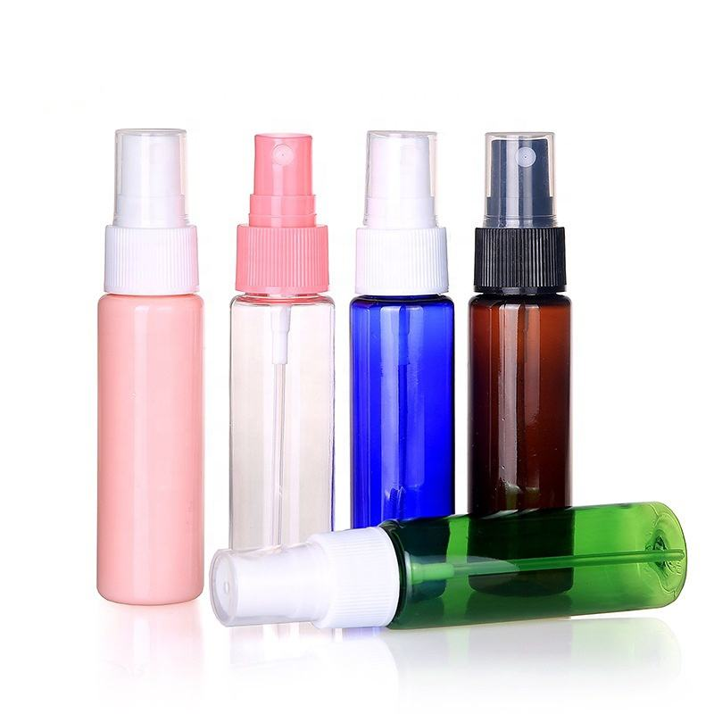 Wholesale high quality in stock 30ml plastic colorful mini travel bottle sample spray bottle