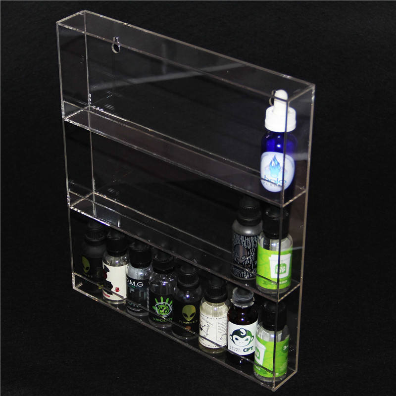 Customized clear acrylic plastic material e liquid wall hang display rack