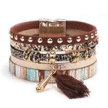 Women Bohemian Multilayer Leather Tassel Crystal Beads Wrap Bracelet Multilayer Leather Tassel Wrap Cuff Charm Bracelet