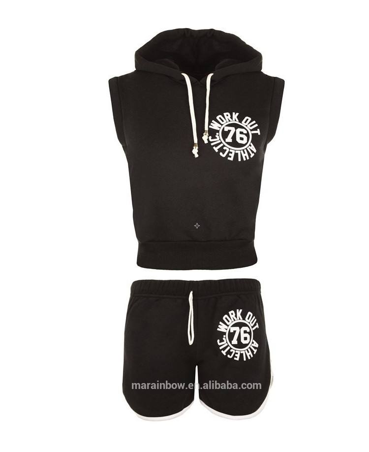 Sleeveless hoodie sweat shorts trainingsanzüge für frauen