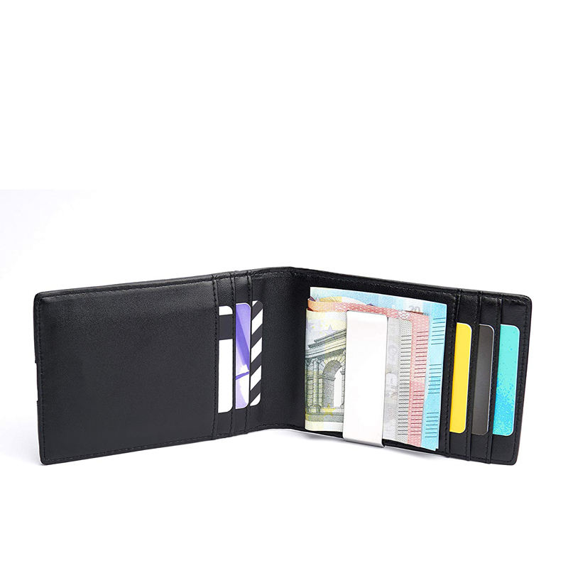 RFID Protection Premium Men's Bifold Wallet PU Leather Men's Money Clip Small Slim Wallet