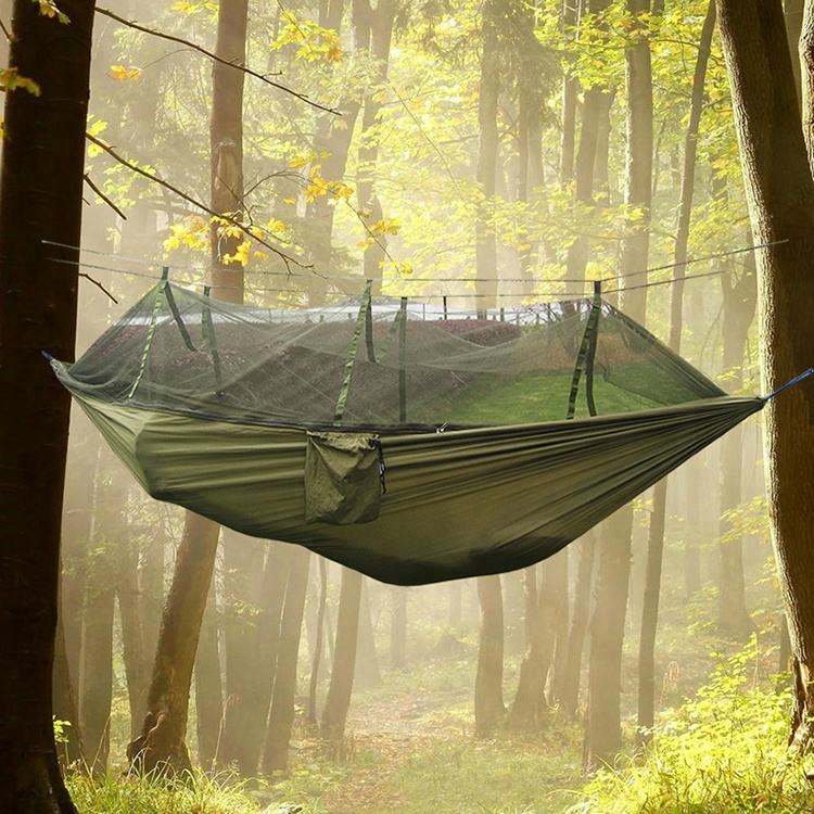Lightweight Portable Parachute Nylon Tarffta Camping Hammock with Mosquito Net for Outdoor, Hiking, Camping, Backpacking, Travel