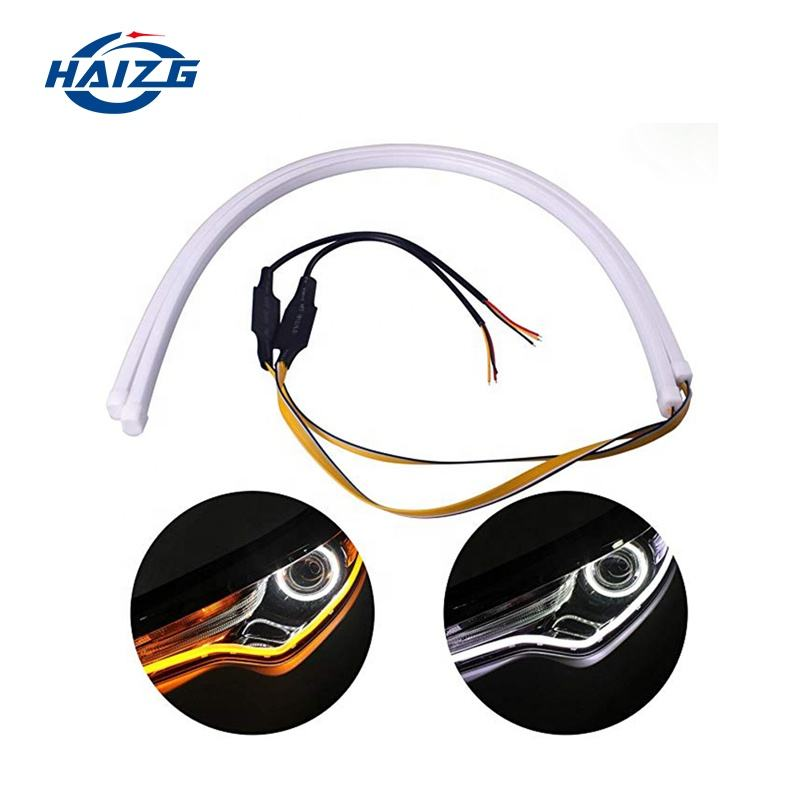 Hotselling 2PCS 60cm Daytime Running Lights Car LED Turn Signal Flexible Headlight Angel Eye DRL Day Light with stream light