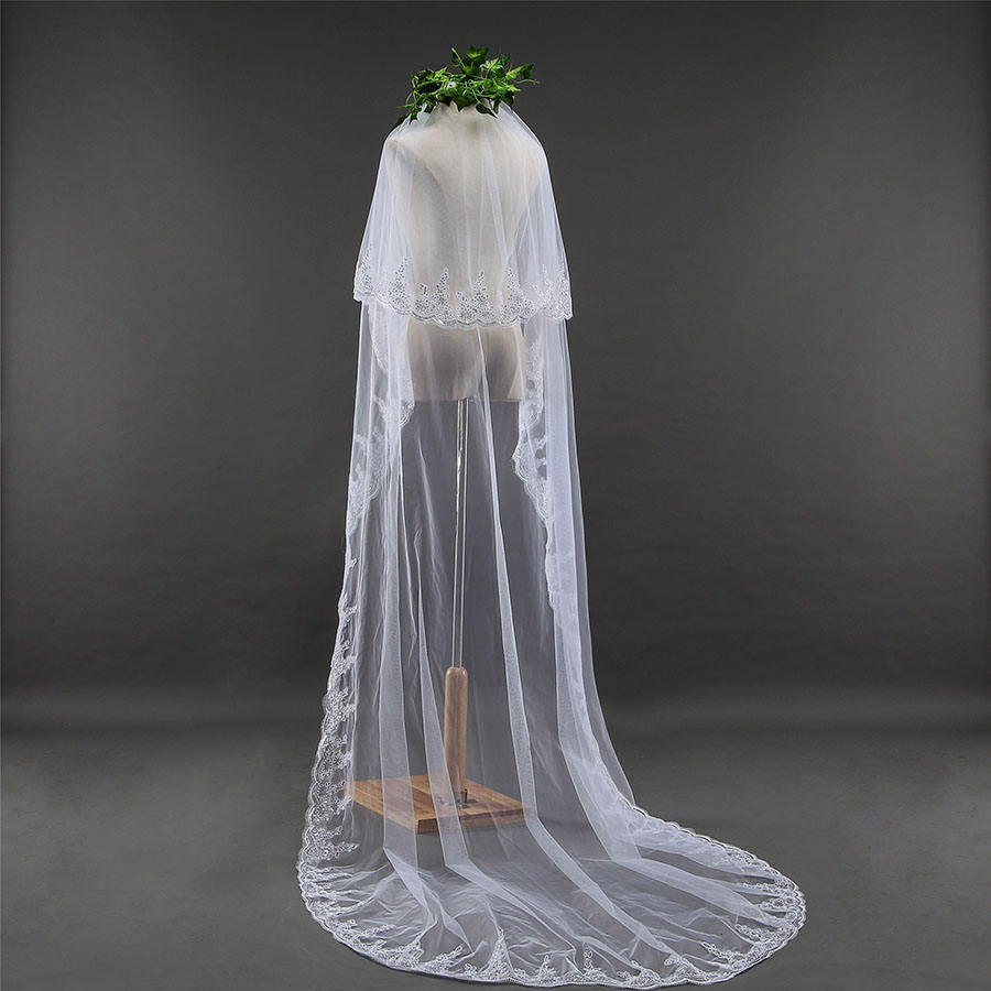 2 t lovertjes Sluier 3 meter Lange Wedding Bridal Veil Met Kant Applique