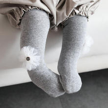 new autumn 6 solid colors ankle cute flower baby leggings socks for infant
