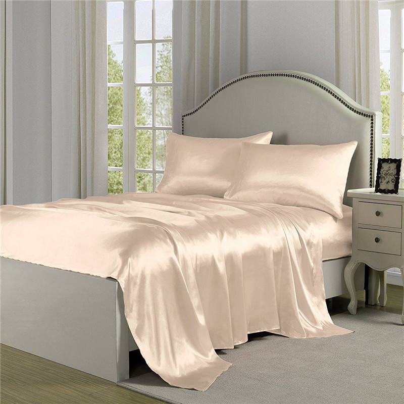 Solid Color Silk Polyester Satin Bed Sheets Set