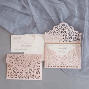 Envelope Style Cheap Muslim Design Blush Laser Cut Pocket Wedding Invitations
