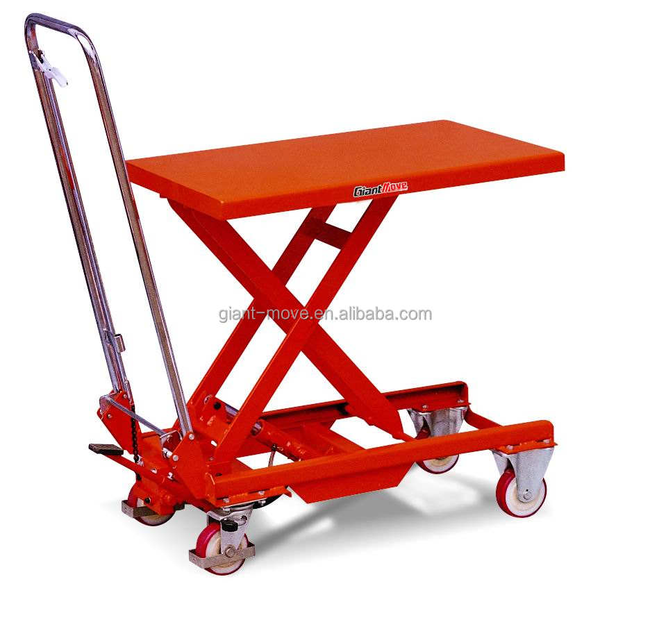 MH-D MH-E heavy duty pedal lifting mobile hydraulic scissor lift table